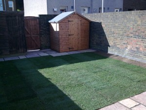 Patio, block paving and landscaping